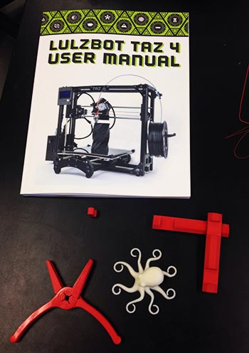 Test items produced with the new printer