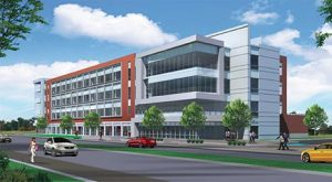 UIndy Health Pavilion, view from northwest, courtesy CSO Architects