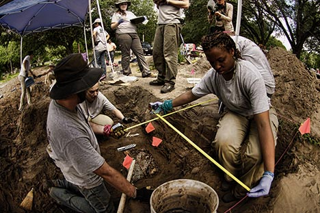 The UIndy Archeology & Forensics Team at work in Texas, June 2014 (UIndy/Guy Housewright photo)