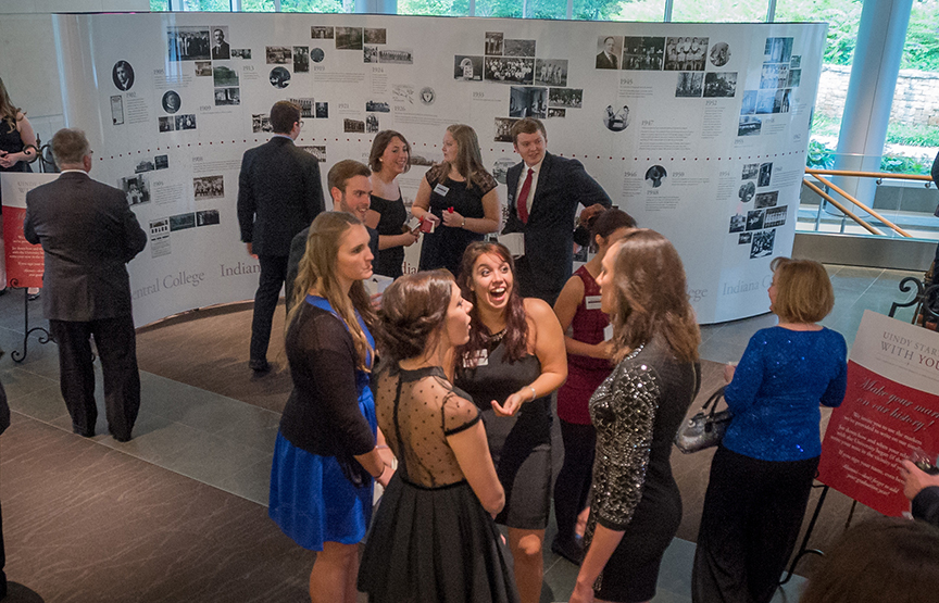 UIndy launched a five year $50-million fundraising campaign with a gala at the Indianapolis Museum of Art on Friday, October 2, 2015. Features: time line that could be signed by attendees, meal, program, and homecoming dance afterwards. (Photo: D. Todd Moore, University of Indianapolis)