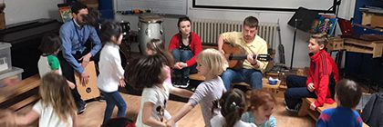 The students performed for children at the International School Belgrade.