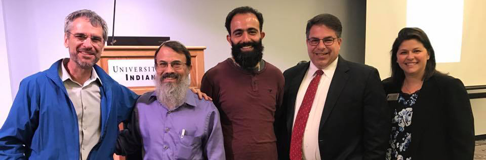 (L-R) Charlie Wiles, Center for Interfaith Cooperation, Rabbi Hannan Schlesinger, Antwan Saca, University of Indianapolis President Rob Manuel, JCRC Executive Director Lindsey Mintz