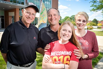 Brunnemer / Legacy Family (Jim '66, Lu '76, Kyle '92, Julia-current student). (Photo: D. Todd Moore, University of Indianapolis)