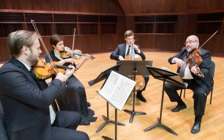 The Indianapolis Quartet (TIQ) photo session in the Ruth Lilly Performance Hall  on Tuesday, August 29, 2017.   TIQ is the resident string quartet at the University of Indianapolis and consists of prominent local classical musicians Zachary De Pue, Joana Genova, Michael Isaac Strauss, and Austin Huntington.  (Photo:  D. Todd Moore, University of Indianapolis)