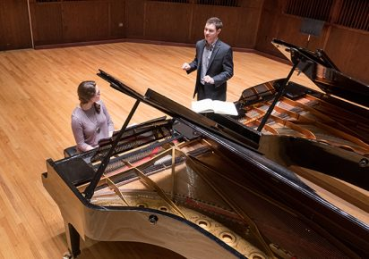 Drew Petersen master piano class - February 14, 2018. (Photo: D. Todd Moore, University of Indianapolis)
