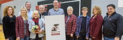 Recognition ceremony following a swimming and diving meet to honor donor Thomas Bryant  on Saturday, Jan. 20, 2018.  (Photo:  D. Todd Moore, University of Indianapolis)
