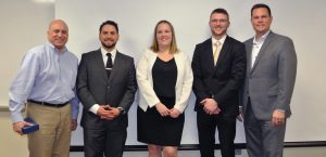 From left to right: Mike Patarino, instructor and advisory board member, Justin Williams, Anne McKinley, Logan Brougher, and Eric Harvey, program director.