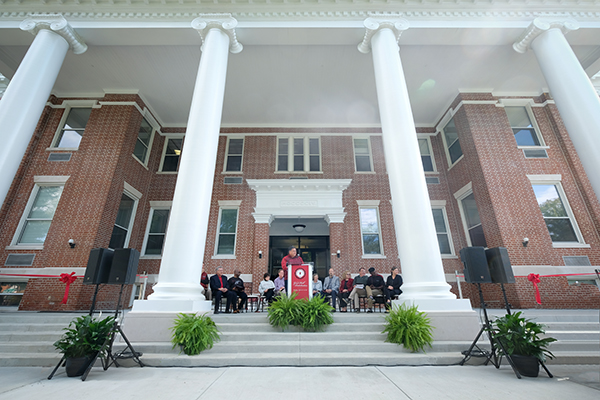 2018 homecoming weekend: President's Founder's Day Celebration and Good Hall Rededication around west lawn and porch area of renovated Good Hall on Saturday, September 29, 2018. (Photo: D. Todd Moore, University of Indianapolis)