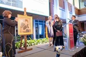 A new portrait of Yvonne Shaheen was unveiled at the campaign celebration in September. The portrait is now on display in Good Hall.