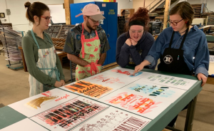 Shaheen grant recipients at the Hamilton Wood Type & Printing Museum.