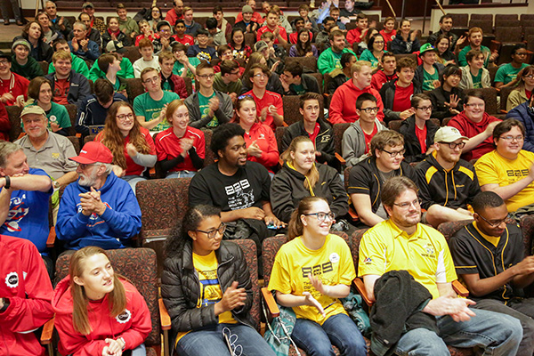 Robotics reveal photos taken by IndianaFIRST, Inc. and shared with UIndy for UIndy use. The event was held Jan 4, 2020 at CDFAC Ruth Lilly Auditorium. (Photo Contributed by IndianaFirst)