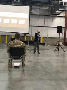 Russell Evans from Probari, Inc. trains Indiana National Guard troops for their deployment to Indiana nursing homes.