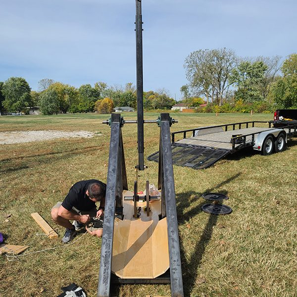 Faculty and students in the R.B. Annis School of Engineering had three weeks to deliver the trebuchets.