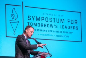Richard G. Lugar Symposium for Tomorrow's Leaders featuring NPR's Steve Inskeep on Saturday, December 7, 2019. (Photo by D. Todd Moore/ University of Indianapolis)